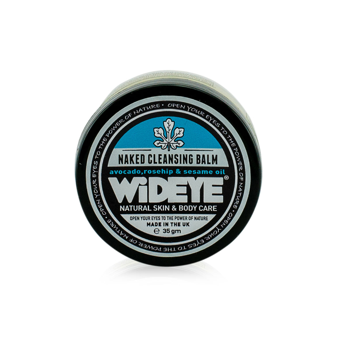 Natural vegan skincare naked facial cleansing balm in glass jar handmade by WiDEYE in Rye.