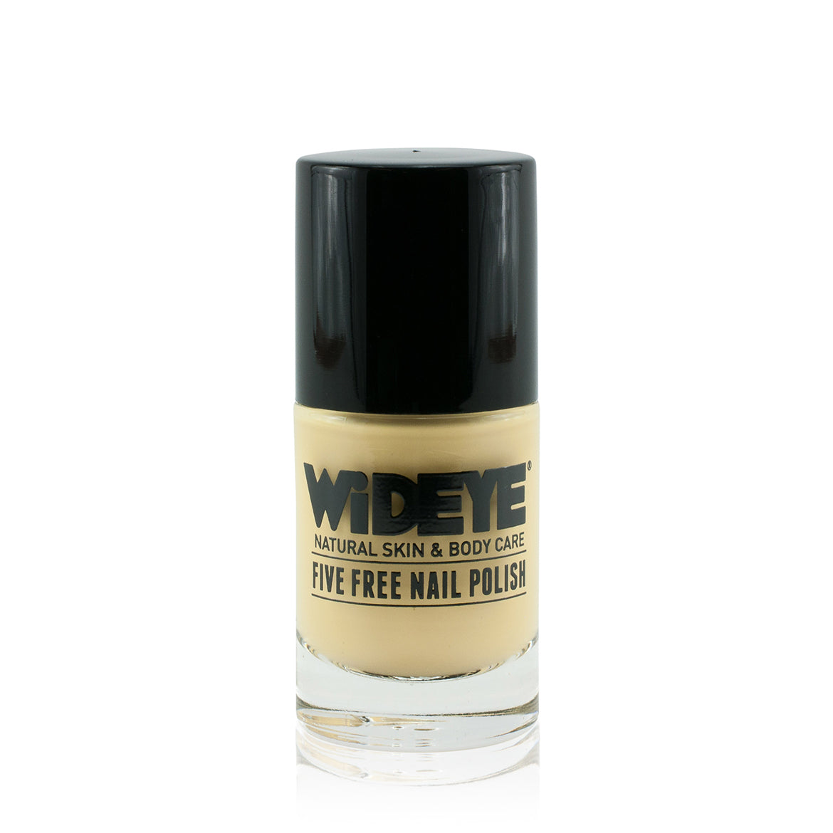 Pastel yellow nail polish in glass bottle by WiDEYE.