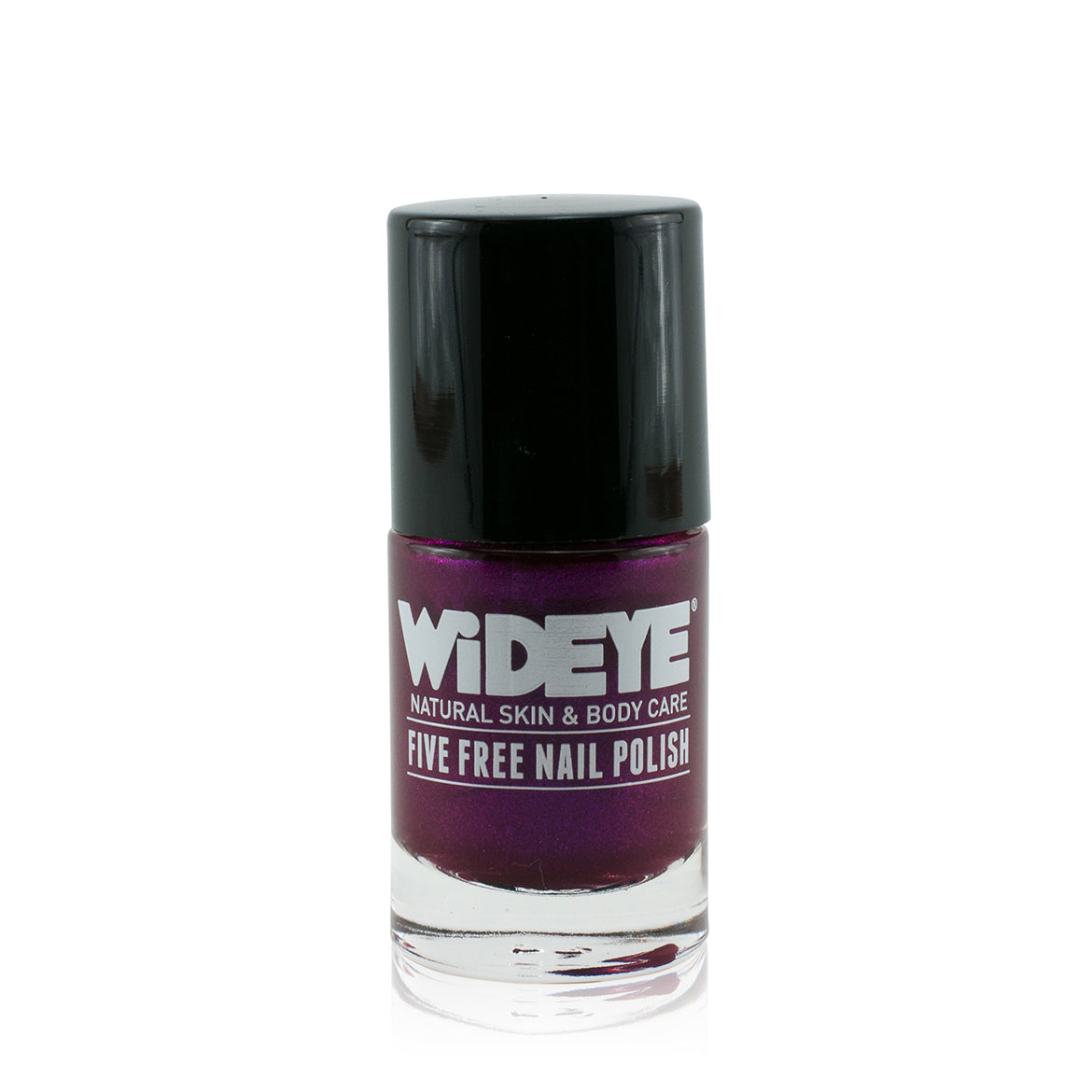 Deep purple shimmer nail varnish in glass bottle by WiDEYE.