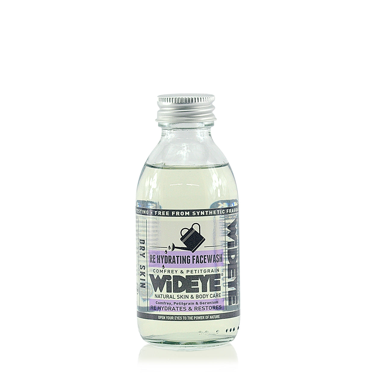 Re Hydrating face wash. Clear face wash in a glass bottle with a purple label and an aluminium top.
