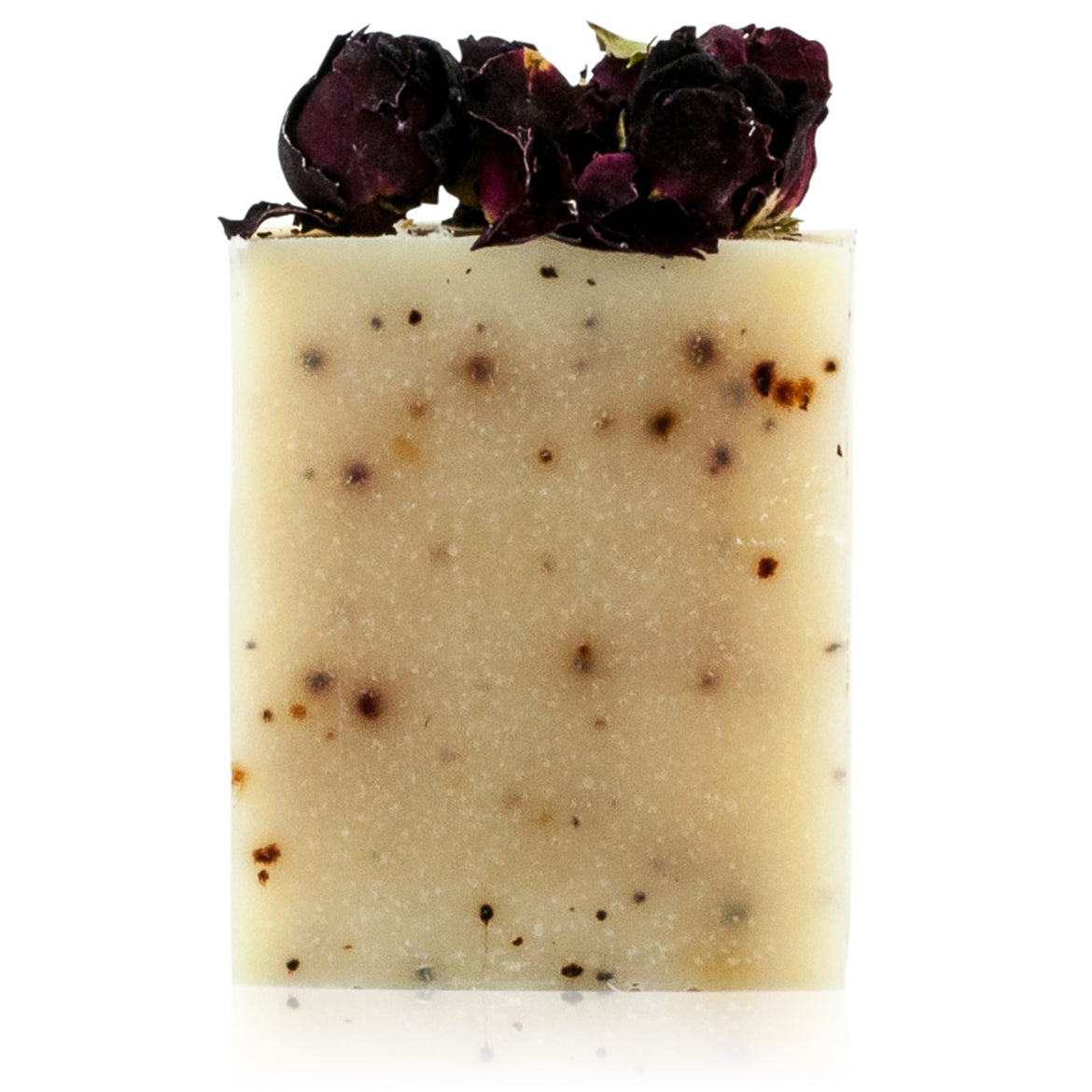 Natural vegan skincare Rose butter soap bar, decorated with rose buds, handmade by WiDEYE in Rye.