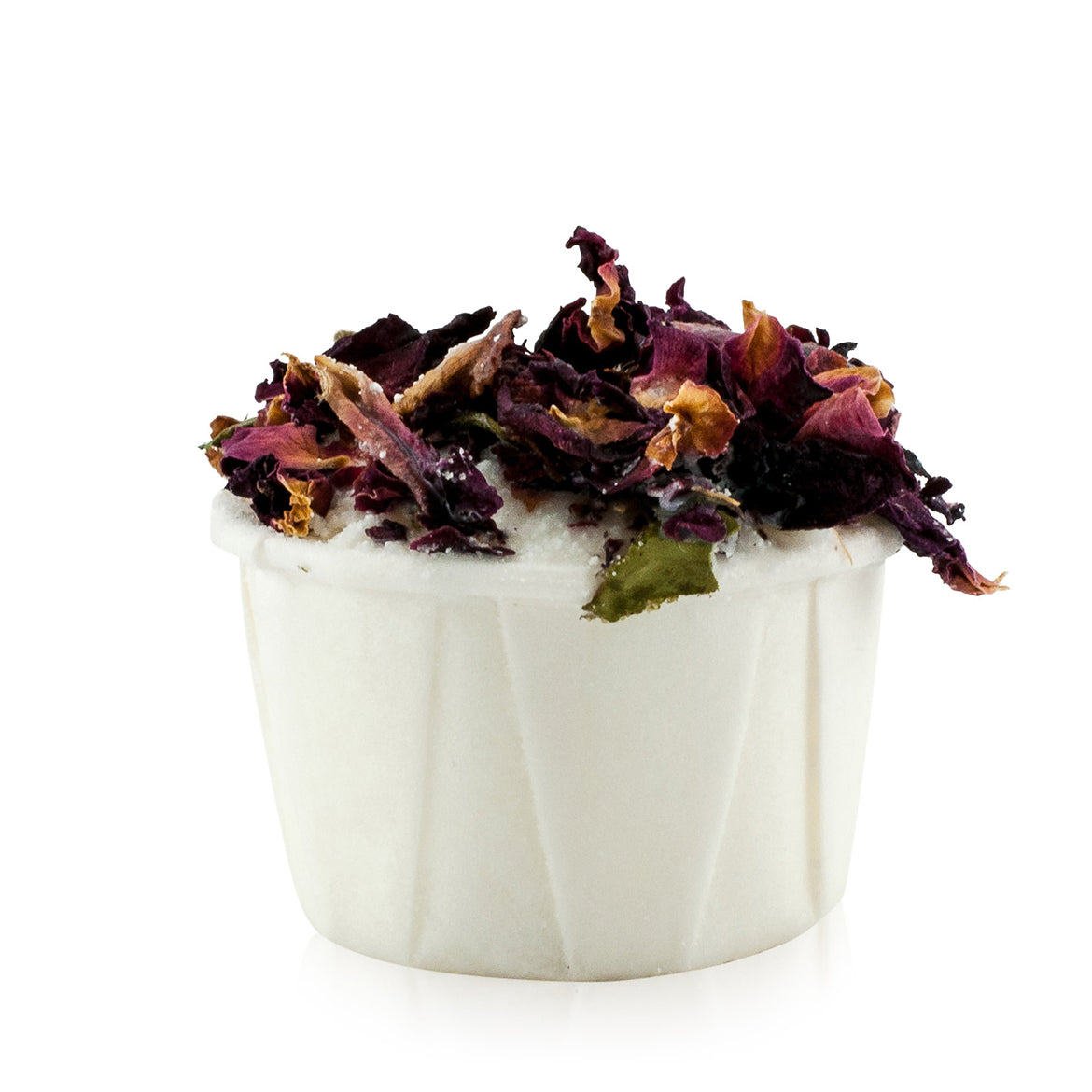 Natural vegan skincare 60g Rose Buttercup bath melt, decorated with rose petals, handmade by WiDEYE in Rye.