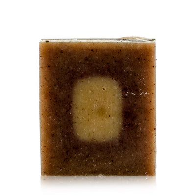 Natural vegan skincare Rosehip, Orange & Patchouli mineral soap exfoliating bar, handmade by WiDEYE in Rye.