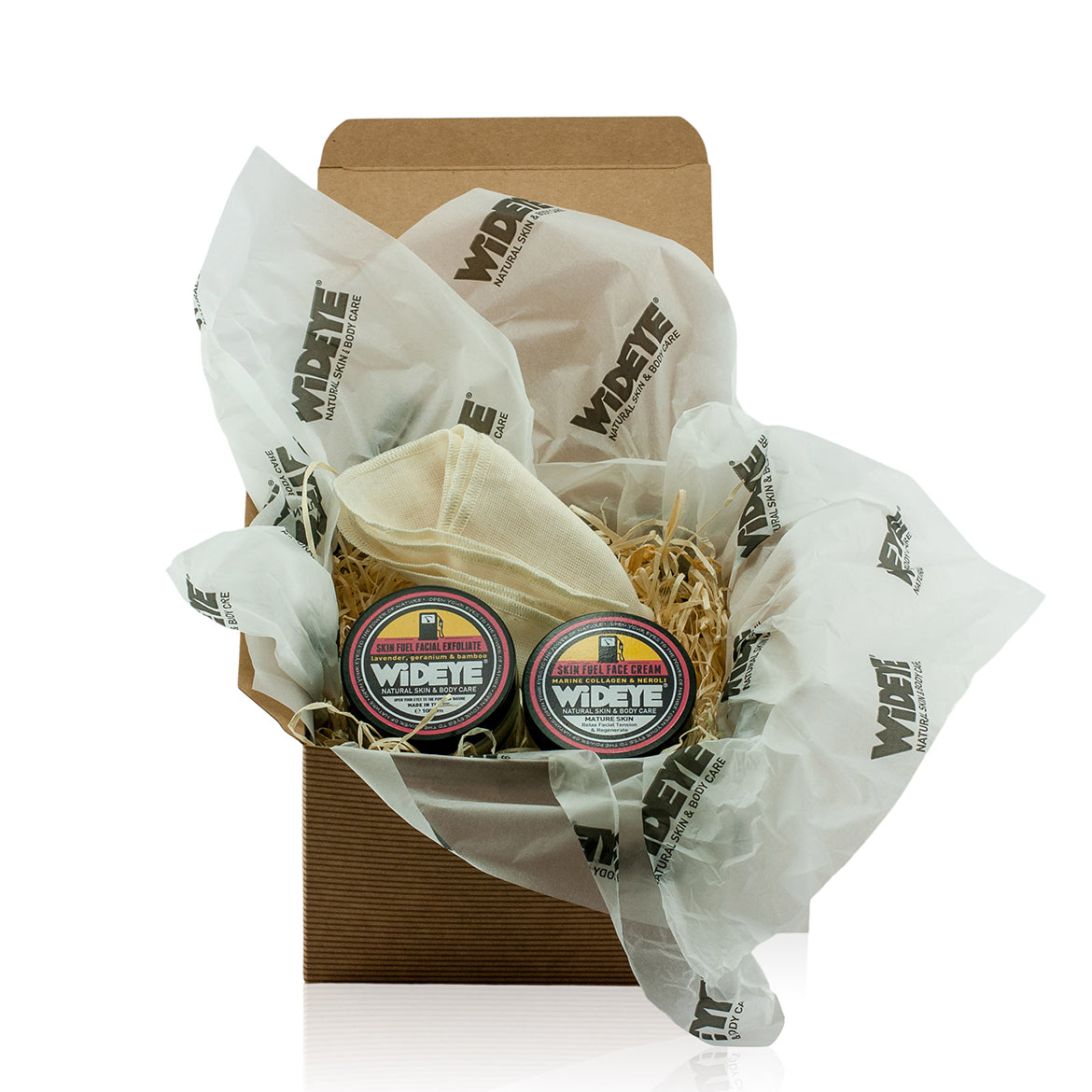 Natural vegetarian skincare Skin Fuel facial kit gift box, including face cream, facial exfoliate and muslin cloth. Handmade by WiDEYE in Rye.