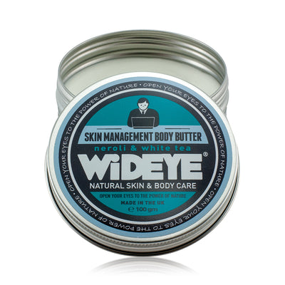 Natural vegan skincare Skin Management body butter moisturiser in aluminium tin with lid removed, handmade by WiDEYE in Rye.