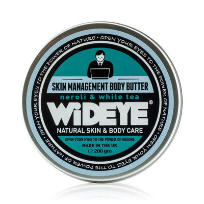 Natural vegan skincare Skin Management body butter moisturiser in aluminium tin, handmade by WiDEYE in Rye.