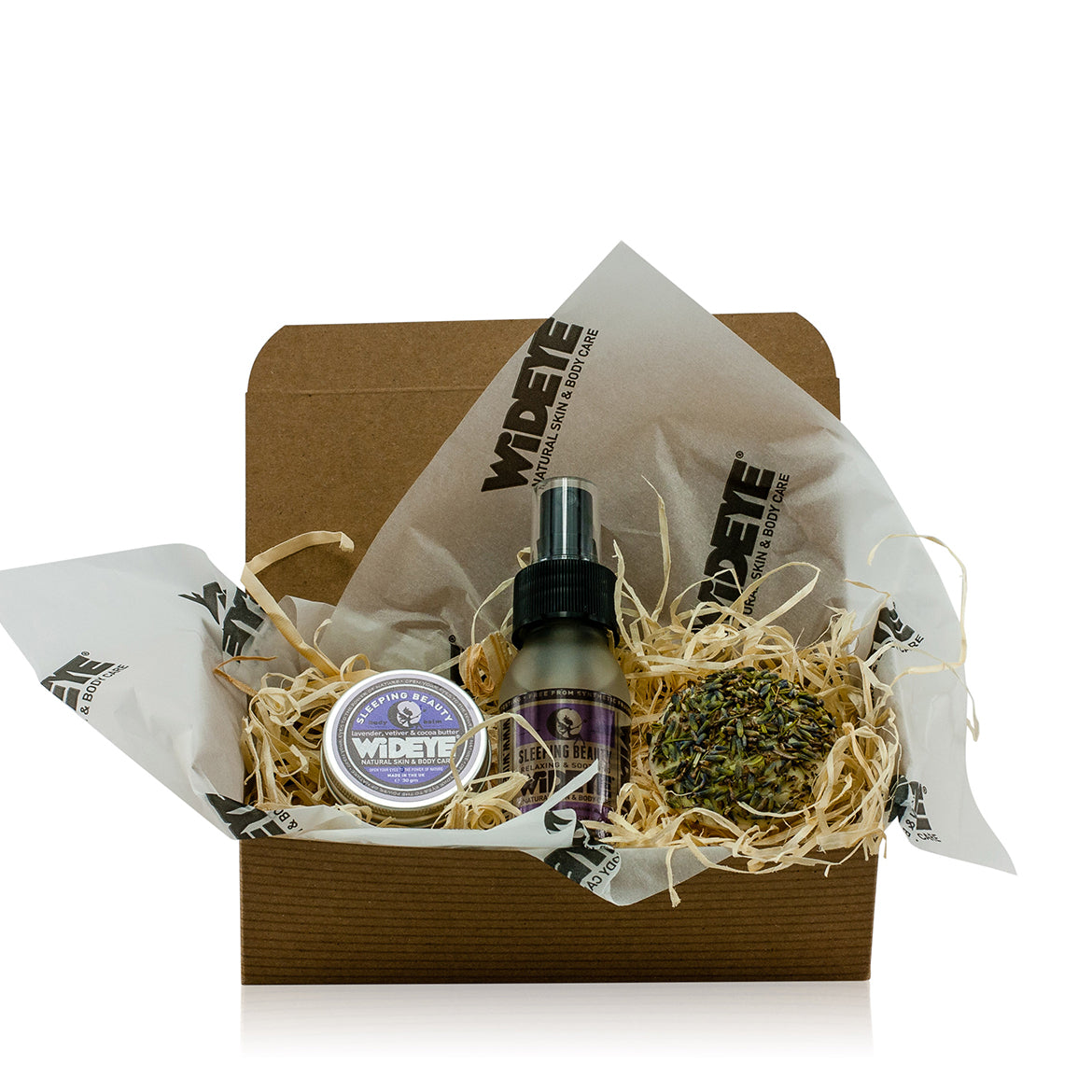Natural skincare Sleeping Beauty kit gift box including active balm, pillow spray and lavender buttercup. Handmade by WiDEYE in Rye.