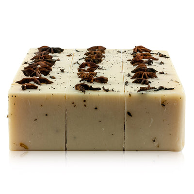 Natural vegetarian skincare Spiced Butter soap block, handmade by WiDEYE in Rye.