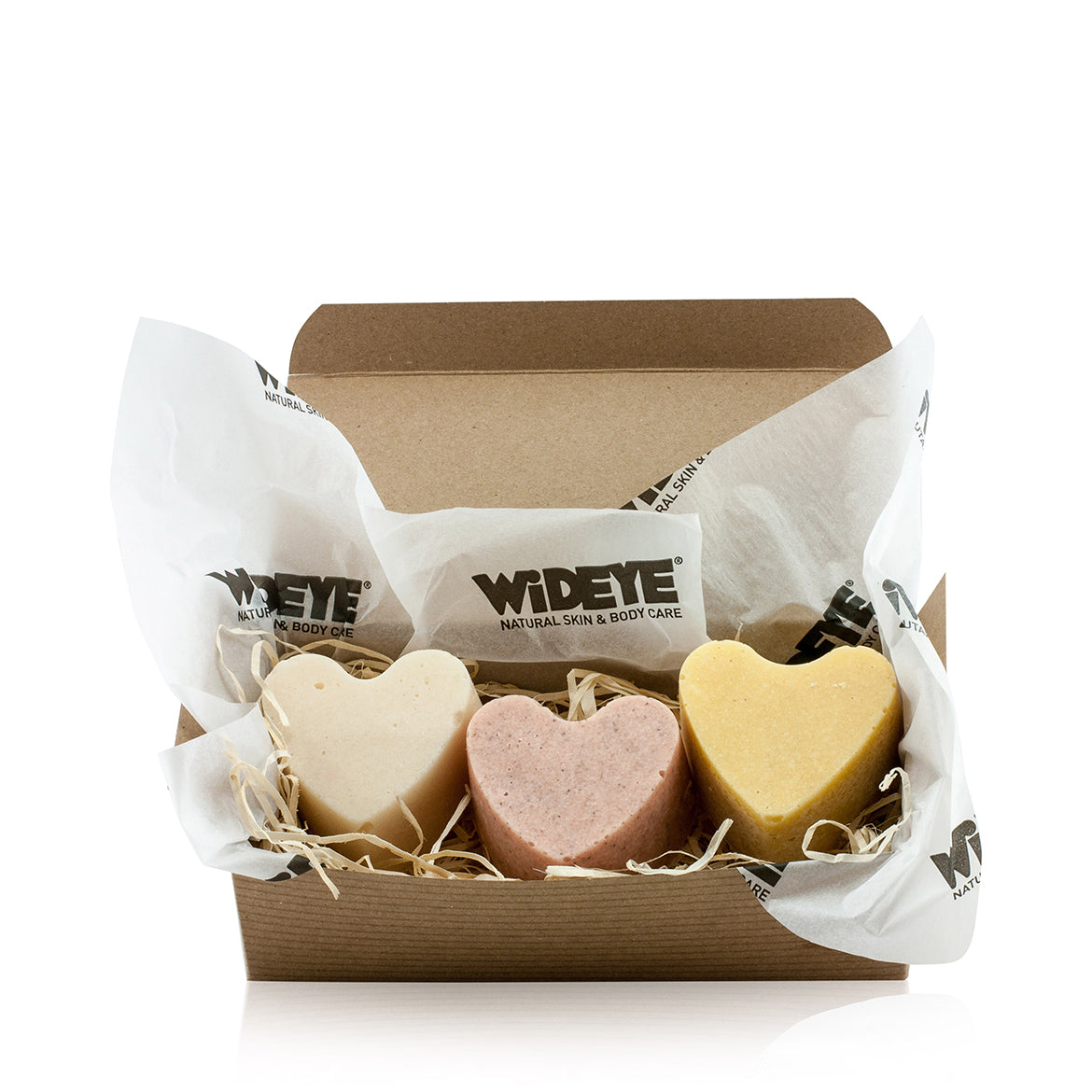 Natural vegan skincare Sugar Scrub gift box containing three sugar scrub exfoliating bars, handmade by WiDEYE in Rye.