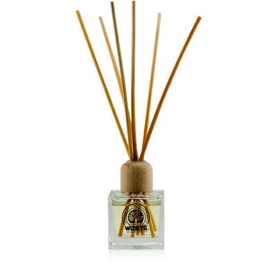 Natural vegan aromatherapy Summer Bliss reed diffuser in glass jar with natural reeds, handmade by WiDEYE in Rye.