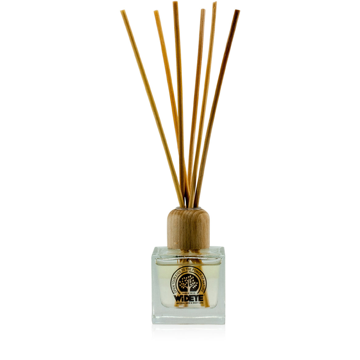 Natural vegan aromatherapy Sun Down reed diffuser in glass jar with natural reeds, handmade by WiDEYE in Rye.