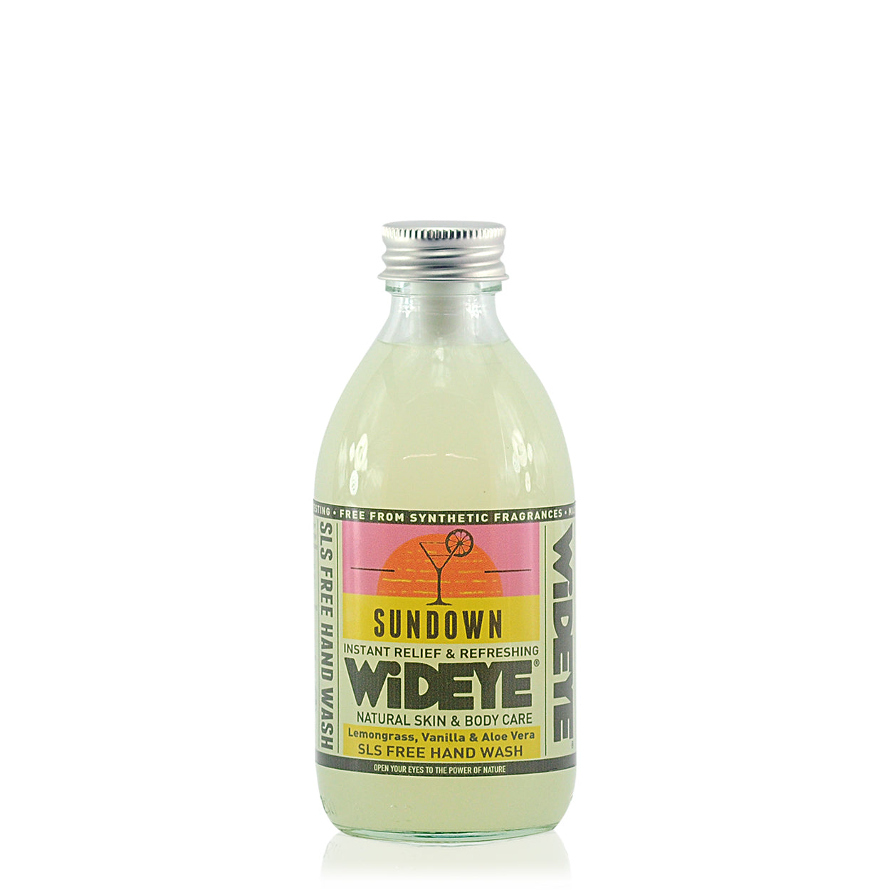 Sundown hand wash. Clear hand wash in a clear glass bottle, with a pink and yellow label and an aluminium top.