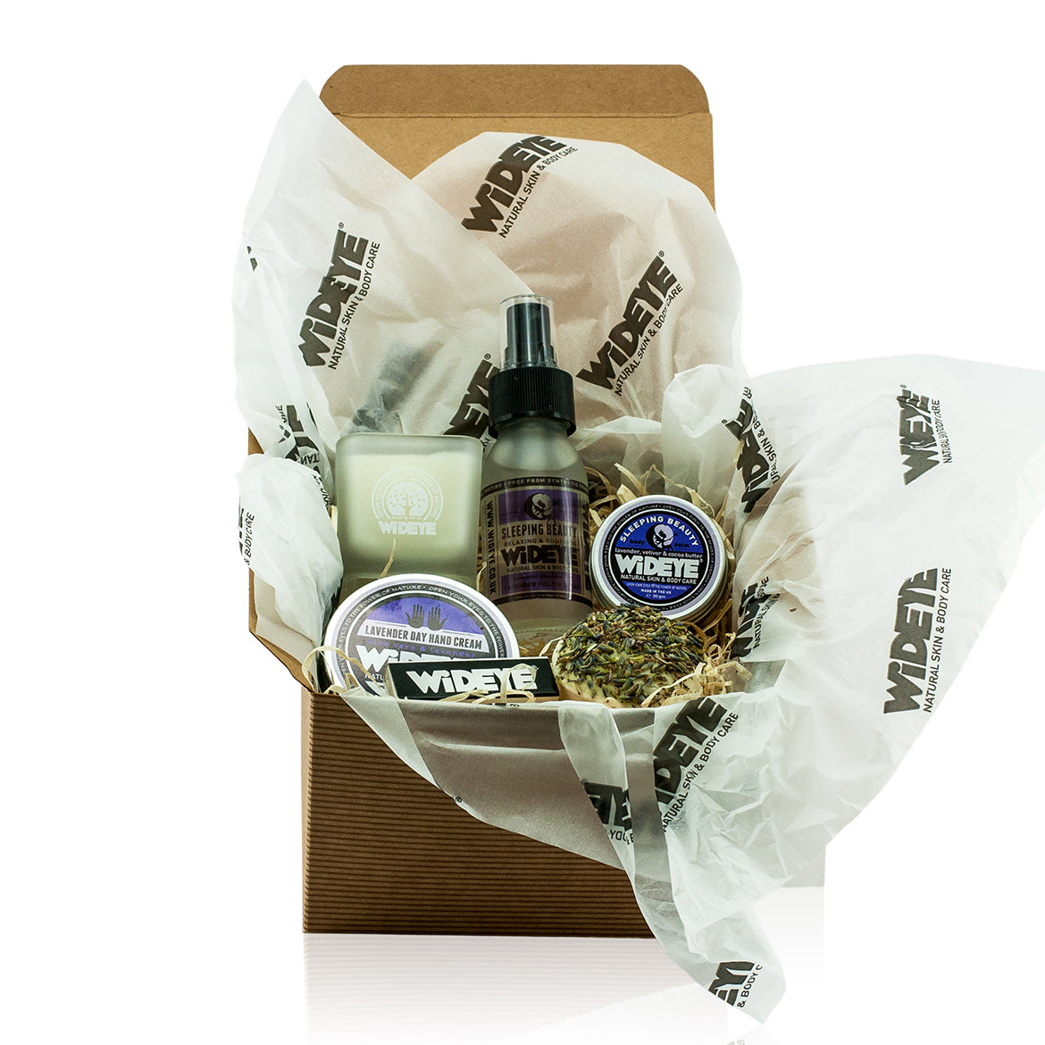 Natural vegan skincare 'Sleeping Beauty' luxury gift box with active balm, lavender pillow spray, buttercup bath melt, hand cream and soy wax candle. Handmade by WiDEYE in Rye.