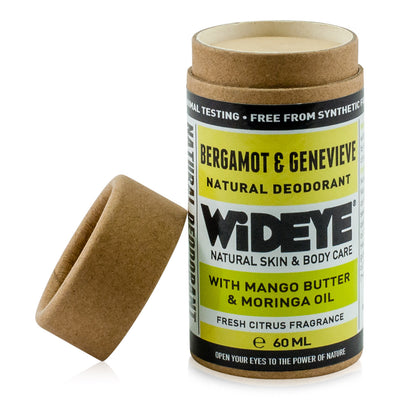 Natural vegan skincare Bergamot and Genevieve deodorant in recyclable cardboard container with lid off handmade by WiDEYE in Rye.