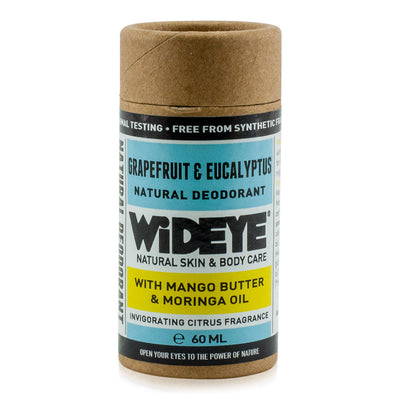 Natural vegan skincare Grapefruit and Eucalyptus deodorant in recyclable cardboard container handmade by WiDEYE in Rye.