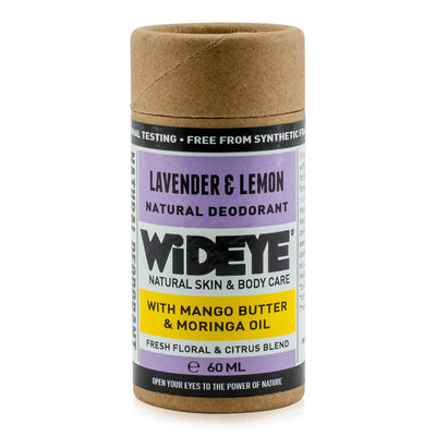 Natural vegan skincare Lavender and Lemon deodorant in recyclable cardboard container handmade by WiDEYE in Rye.