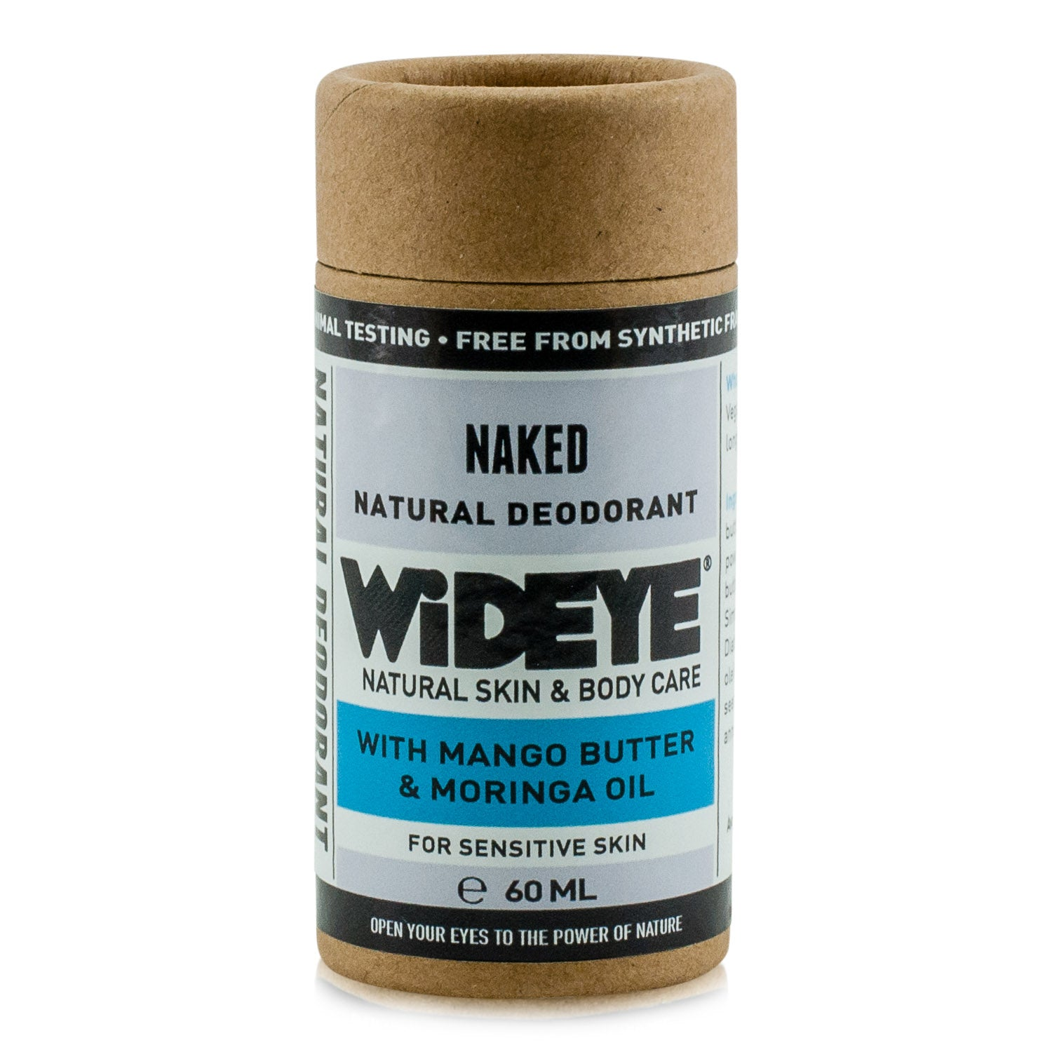 Natural vegan skincare Naked deodorant in recyclable cardboard container handmade by WiDEYE in Rye.
