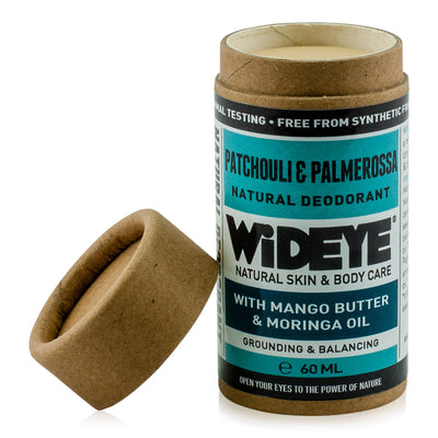 Natural vegan skincare Patchouli and Palmarosa deodorant in recyclable cardboard container with lid off, handmade by WiDEYE in Rye.