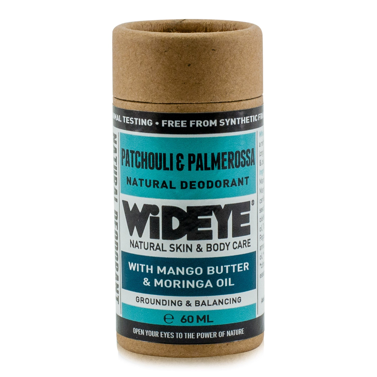 Natural vegan skincare Patchouli and Palmarosa deodorant in recyclable cardboard container handmade by WiDEYE in Rye.