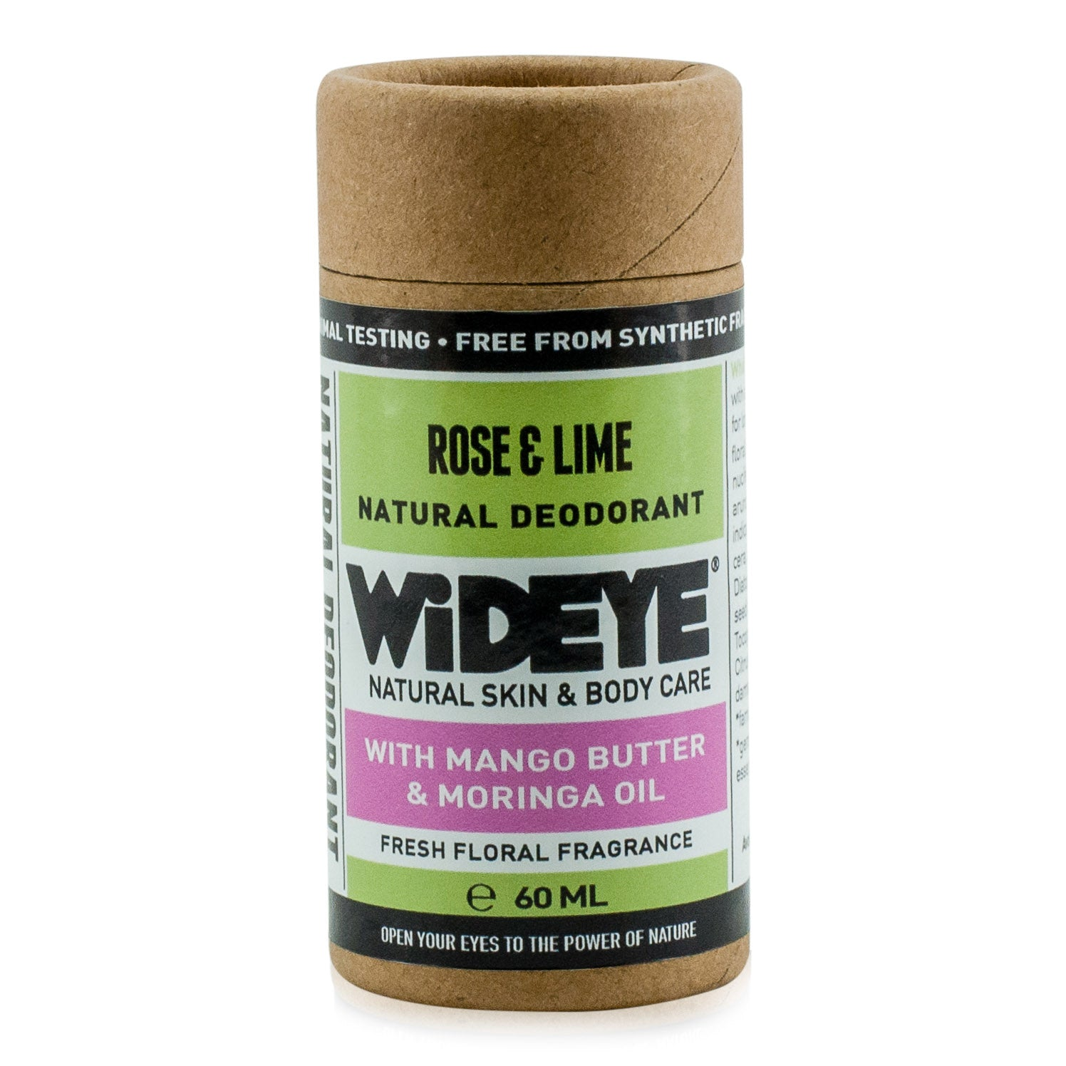 Natural vegan skincare Rose and Lime deodorant in recyclable cardboard container handmade by WiDEYE in Rye.
