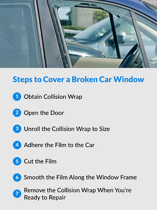 7 Steps to cover a broken car window with Collision Wrap