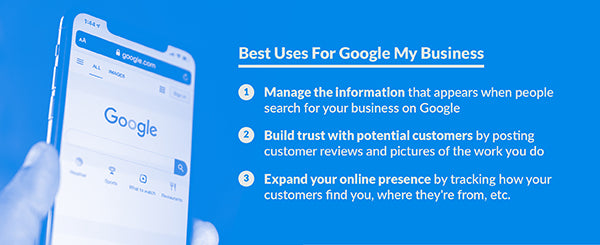 Three main uses that you can get with Google My Business, which are managing your information, interacting with customers, and expanding your online presence