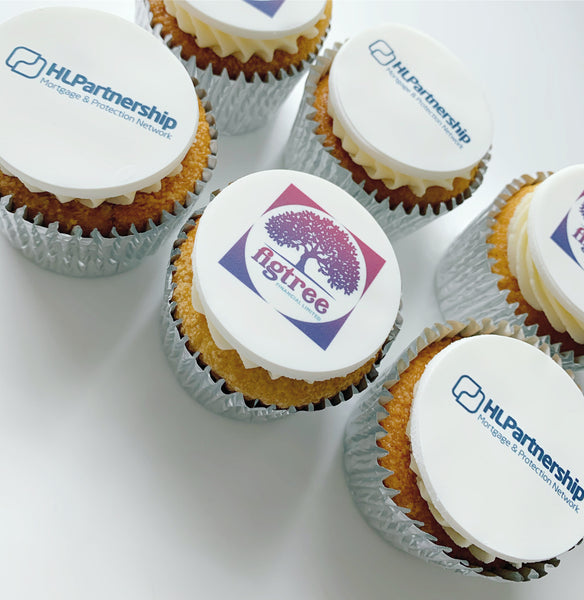 client thank you gift logo cupcakes