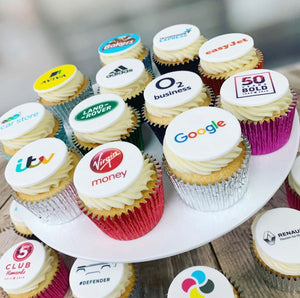branded logo buttercream cupcakes delivered