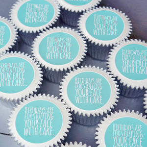 Birthday cupcake gift box in turquoise - uk delivery