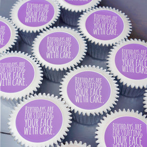 Birthday cupcake gift box in purple - uk delivery