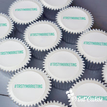 Printed message cupcakes for corporate events and promotions.