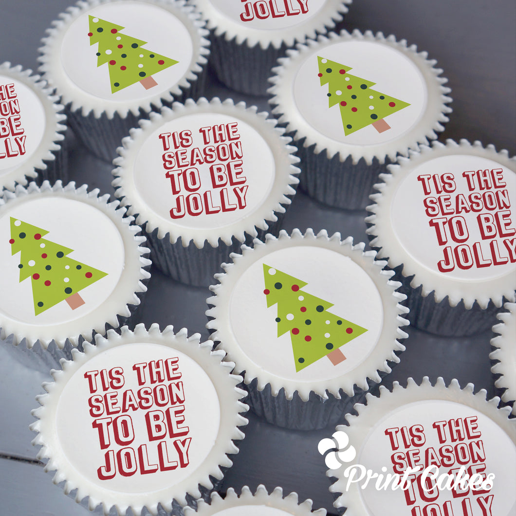 Jolly christmas cupcake gift delivered in the UK