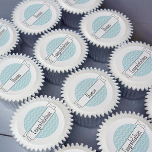 Personalised congratulations cupcake gift box in blue