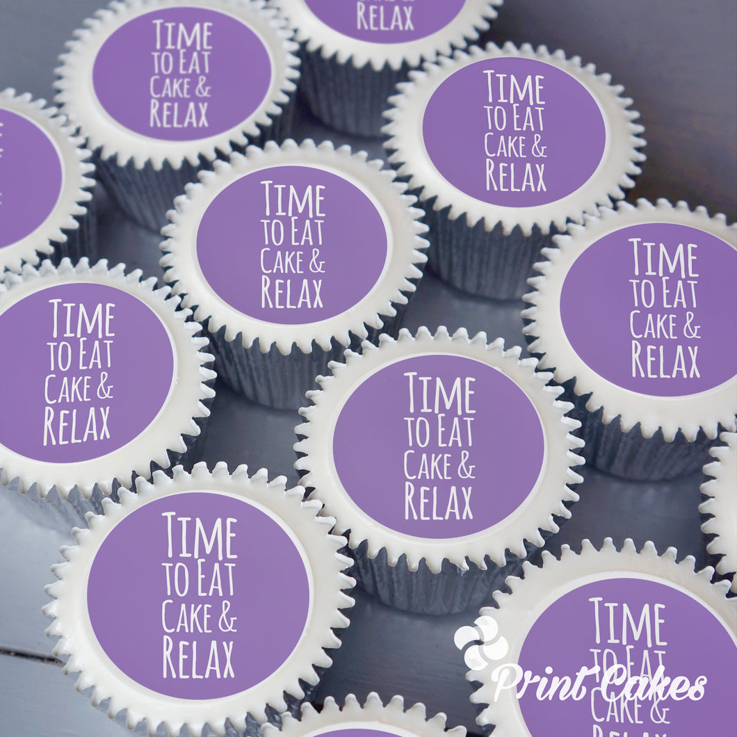 Time to eat cake and relax, printed cupcakes delivered in the UK