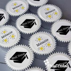 Personalised graduation gift cupcakes from Print Cakes