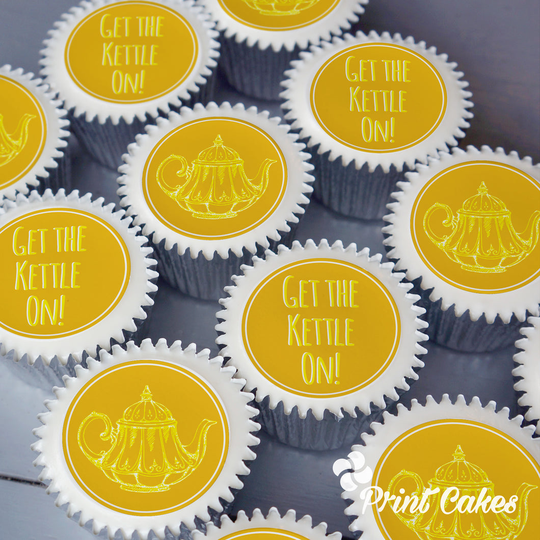 Get the kettle on printed cupcakes toppers
