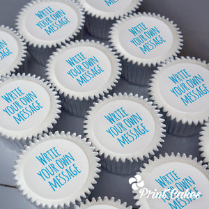 Cupcakes with persoanlised message printed on top. Delivered in the UK