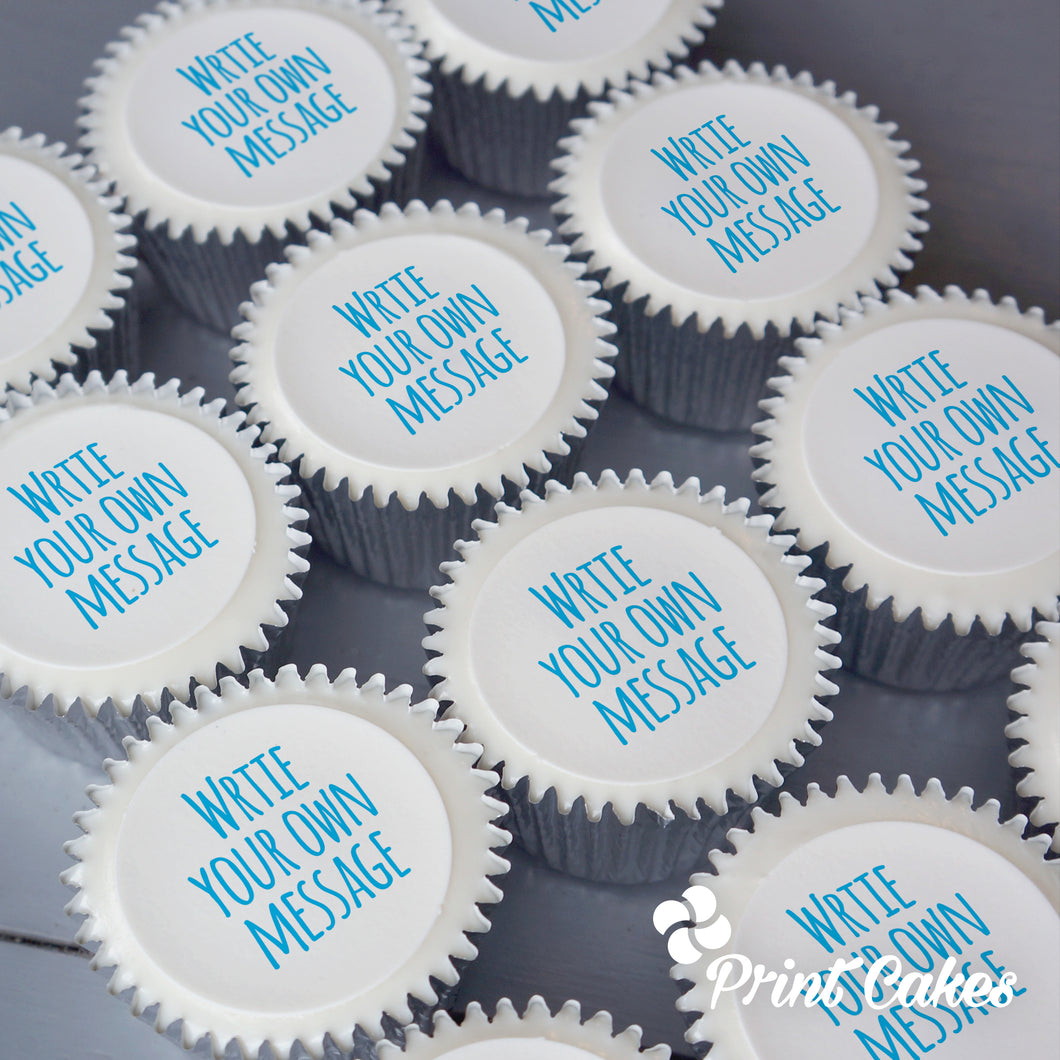 Cupcakes with persoanlised message printed on top. UK delivery