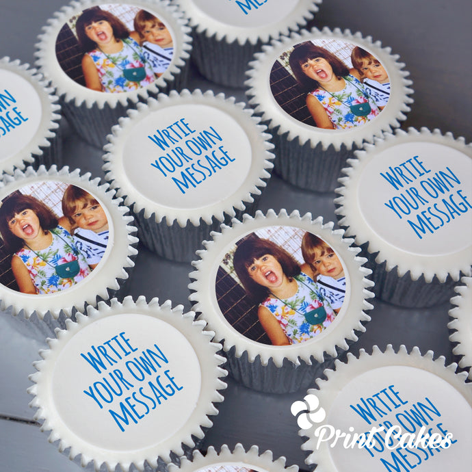 Personalised edible printed cupcake photo and message toppers. Delivered in the UK