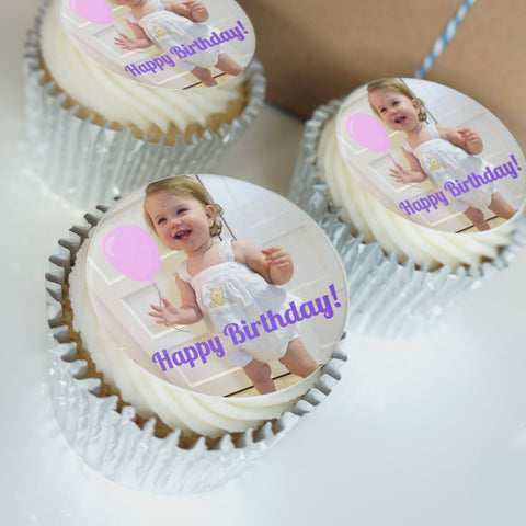 personalised edible photo cupcakes