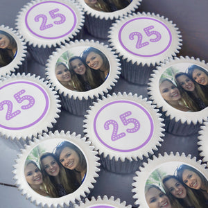 Cupcakes with uploaded edible photos and number for birthdays and anniversary's