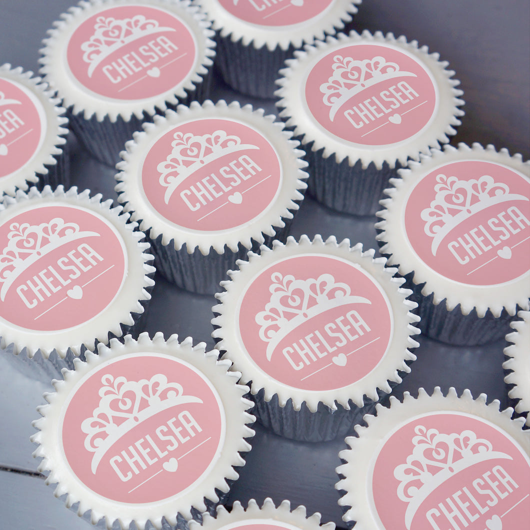 Personalised princess themed cupcakes for parties or gifts. Delivered in the UK.