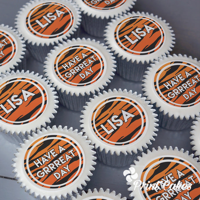 tiger print cupcakes from print cakes