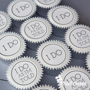 """I Do"" Wedding cupcakes from Print Cakes"