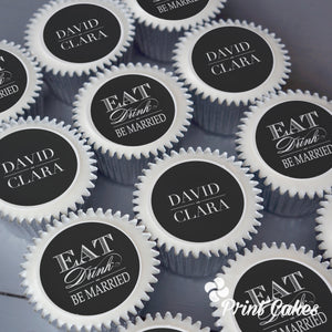 Persoanlised wedding cupcakes. Add the bride and grooms name.