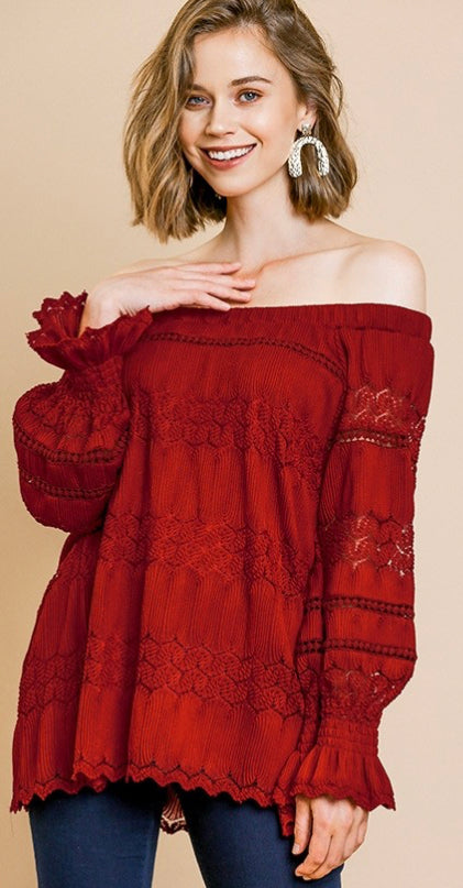 Flirty Off shoulder puff sleeve crochet top in Burgundy