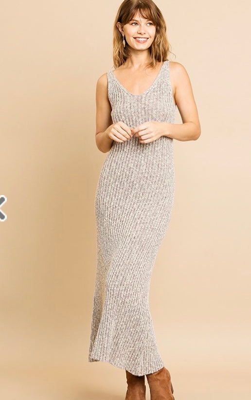 Sleeveless Ribbed Heathered Knit Maxi Dress- Heather brown