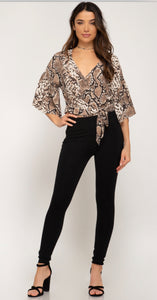 Half Sleeve Snake Skin print woven top with side tie detail