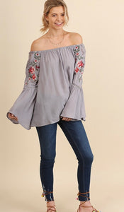 Off Shoulder bell sleeve embroidered top