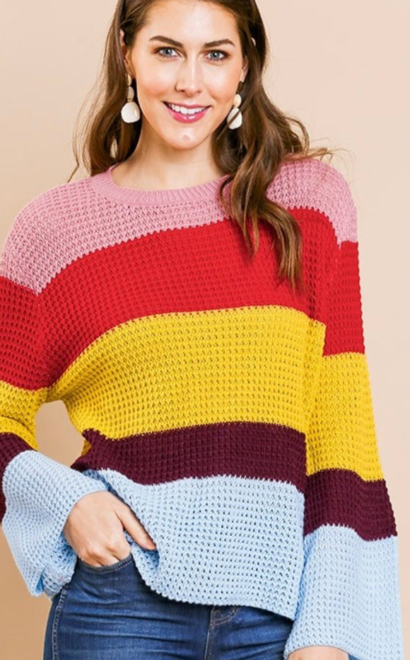 Long Bell Sleeve Colorblock Waffle Knit Sweater with Ribbed Neckline